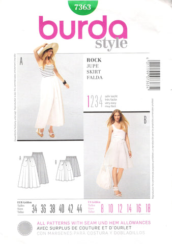 Burda 7363 Misses' Skirt - (8-10-12-14-16-18) - Smiths Depot Sewing Pattern Superstore