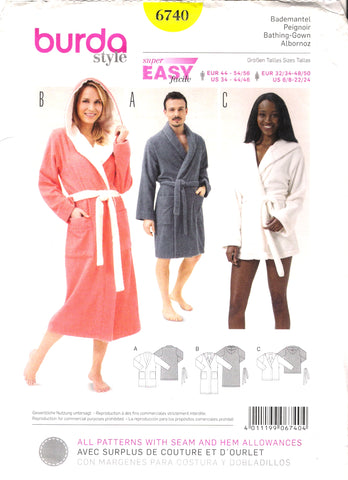 Burda 6740 Bathing Gown / Bathrobe