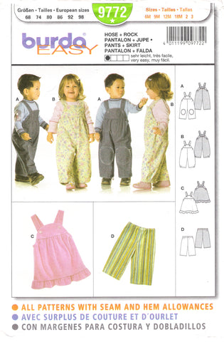 Burda 9772 Babies' and Toddler's Pants and Skirt