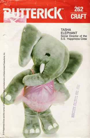 "Butterick 0262 Tasha Elephant 20"" Plush -  - Smiths Depot Sewing Pattern Superstore"
