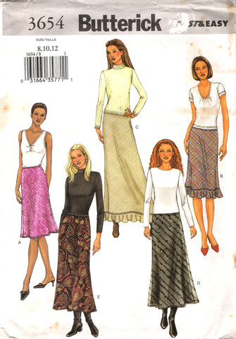 Butterick 3654 Misses'/Misses' Petite Bias Cut, Lined Skirt with Elastic Waist - (8-10-12) - Smiths Depot Sewing Pattern Superstore