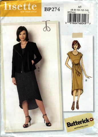 Butterick 0274 Misses' Jacket and Dress - A5 (6-8-10-12-14) - Smiths Depot Sewing Pattern Superstore  - 1