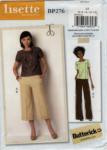 Butterick 0276 Misses' Top and Pants - A5 (6-8-10-12-14) - Smiths Depot Sewing Pattern Superstore  - 1