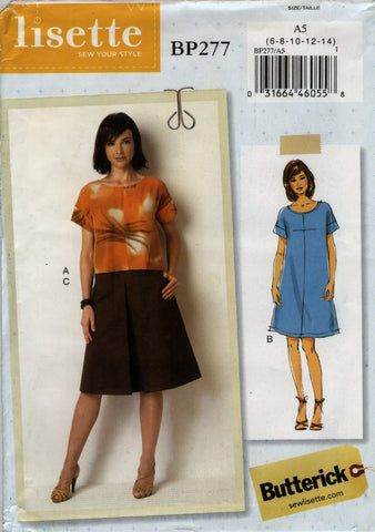 Butterick 0277 Misses' Top, Dress and Skirt - A5 (6-8-10-12-14) - Smiths Depot Sewing Pattern Superstore  - 1