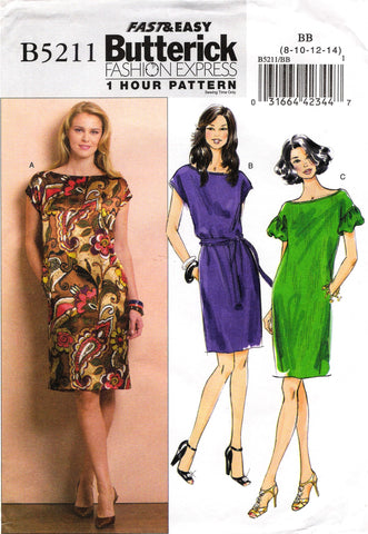 Butterick 5211 Misses' Dress and Belt - 8-10-12-14 - Smiths Depot Sewing Pattern Superstore