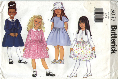 Butterick 3047 Children's Jacket & Dress - 6-7-8 - Smiths Depot Sewing Pattern Superstore