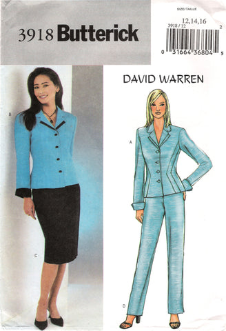 Butterick 3918 Misses'/Misses' Petite Jacket, Skirt and Pants - (12-14-16) - Smiths Depot Sewing Pattern Superstore