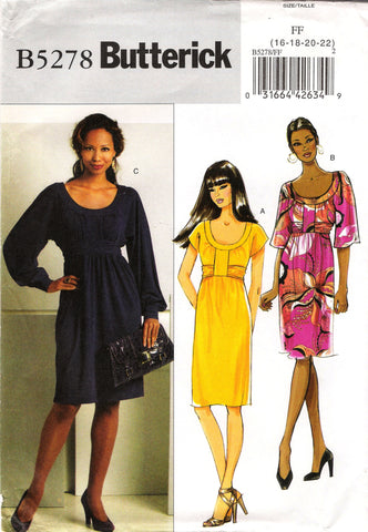 Butterick 5278 Misses' Dress - 16-18-20-22 - Smiths Depot Sewing Pattern Superstore