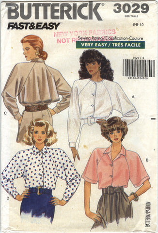 Butterick 3029 Misses' Shirt - 6-8-10 - Smiths Depot Sewing Pattern Superstore
