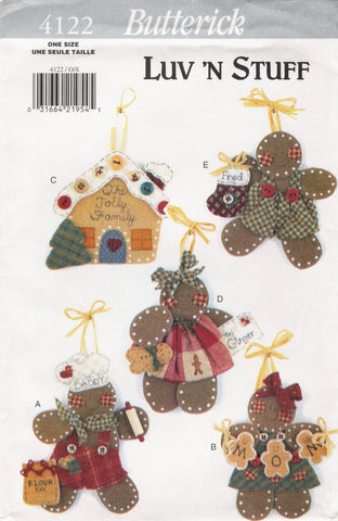 Butterick 4122 No Sew Gingerbread Ornaments -  - Smiths Depot Sewing Pattern Superstore