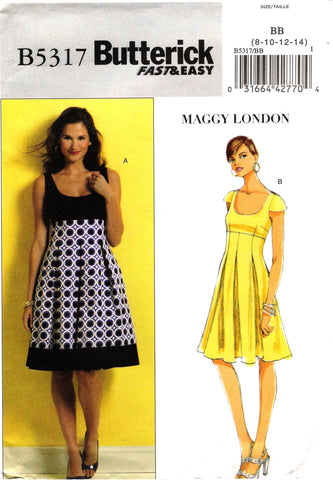 Butterick 5317 Misses' Dress - 8-10-12-14 - Smiths Depot Sewing Pattern Superstore