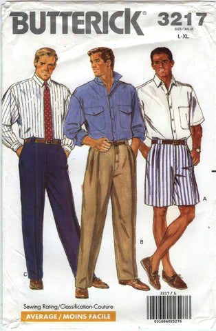 Butterick 3217 Men's Shirt, Shorts and Pants - 42-44-46-48 - Smiths Depot Sewing Pattern Superstore
