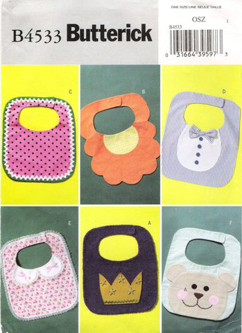 Butterick 4533 Baby Bibs -  - Smiths Depot Sewing Pattern Superstore