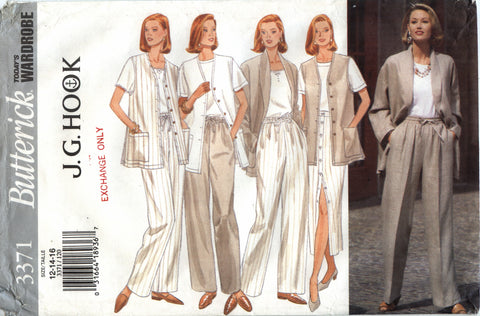 Butterick 3371 Misses' Jacket, Vest, Skirt & Pants - 12-14-16 - Smiths Depot Sewing Pattern Superstore