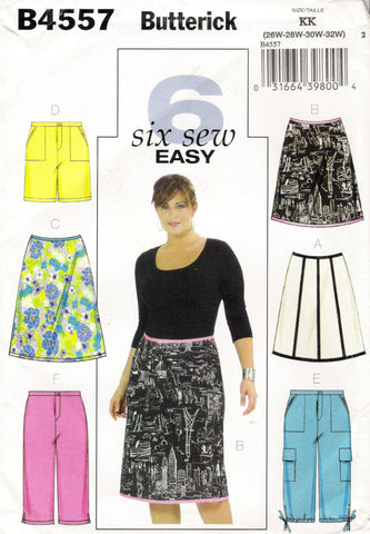 Butterick 4557 Women's Skirt, Shorts and Capri Pants -  - Smiths Depot Sewing Pattern Superstore