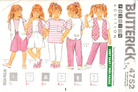 Butterick 4752  Children's Vest, Top, Skirt, Shorts and Pants -  - Smiths Depot Sewing Pattern Superstore