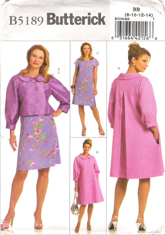 Butterick 5189 Misses' Jacket, Coat and Dress - BB (8-10-12-14) - Smiths Depot Sewing Pattern Superstore