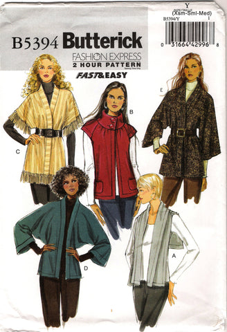Butterick 5394 Misses' Cardigan - 4-6-8-10-12-14 - Smiths Depot Sewing Pattern Superstore