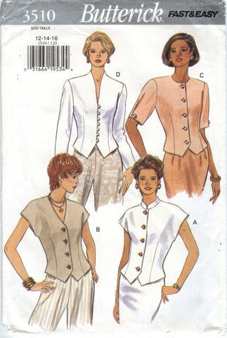Butterick 3510 Misses' Top - 12-14-16 - Smiths Depot Sewing Pattern Superstore
