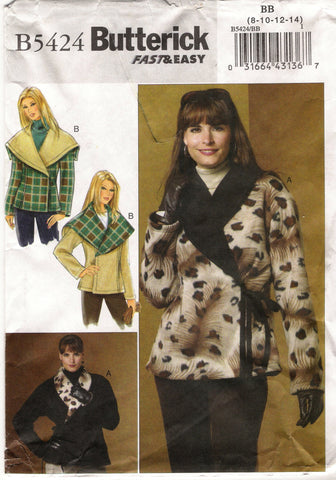 Butterick 5424 Misses' Reversible Jacket - 8-10-12-14 - Smiths Depot Sewing Pattern Superstore