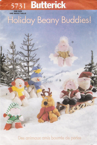 Butterick 5731 Holiday Beany Buddies Friends -  - Smiths Depot Sewing Pattern Superstore