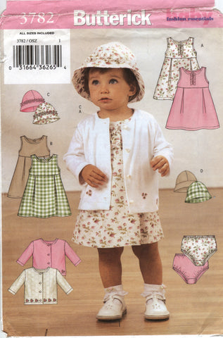 Butterick 3782 Infants' Jacket, Dress, Panties and Hat - S-M-L-XL - Smiths Depot Sewing Pattern Superstore