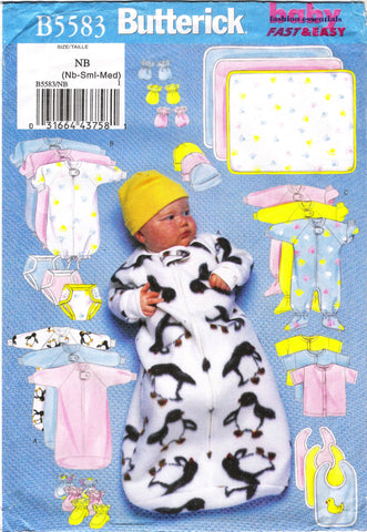 Butterick 5583 Infants' Baby Essentials -  - Smiths Depot Sewing Pattern Superstore