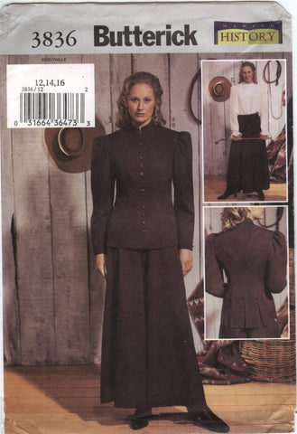 Butterick 3836 Misses'/Misses' Petite Historical Costume - 12-14-16 - Smiths Depot Sewing Pattern Superstore