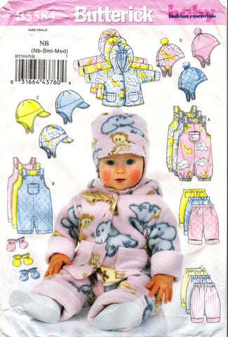 Butterick 5584 Infants' Jacket, Overalls, Pants, Hat and Mittens -  - Smiths Depot Sewing Pattern Superstore