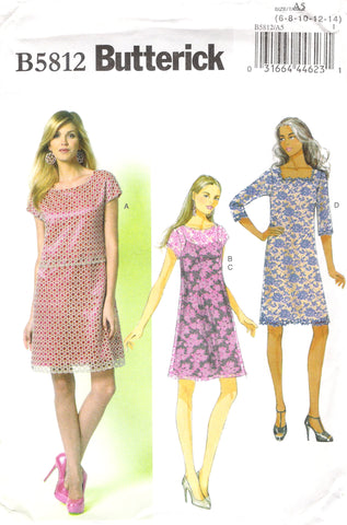 Butterick 5812 Misses' Dress and Slip - A5 (6-8-10-12-14) - Smiths Depot Sewing Pattern Superstore