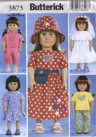"Butterick 3875 18"" Doll Clothes -  - Smiths Depot Sewing Pattern Superstore"