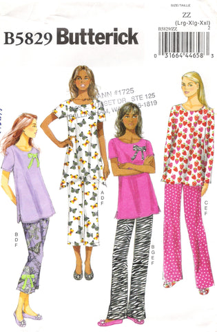 Butterick 5829 Misses' Top, Pants, Slippers and Bow - ZZ (L-XL-XXL) - Smiths Depot Sewing Pattern Superstore