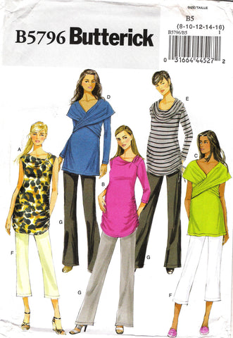 Butterick 5796 Misses' Maternity Top and Pants - 8-10-12-14-16 - Smiths Depot Sewing Pattern Superstore