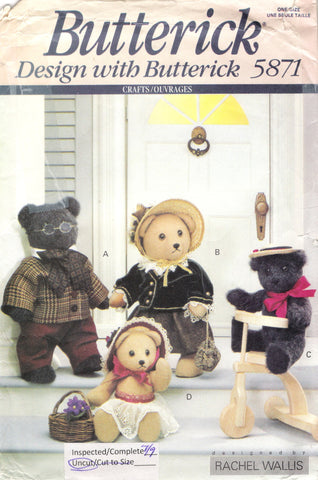 "Butterick 5871 Family Bears 15"" and 11"" Plush -  - Smiths Depot Sewing Pattern Superstore"