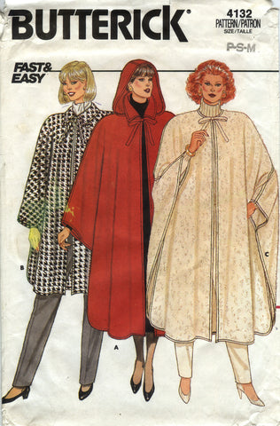 Butterick 4132 Misses' Cape - 6-8-10-12-14 - Smiths Depot Sewing Pattern Superstore