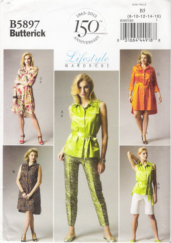 Butterick 5897 Misses'/Women's Top, Dress, Belt, Shorts, Pants and Slip - B5 (8-10-12-14-16) - Smiths Depot Sewing Pattern Superstore