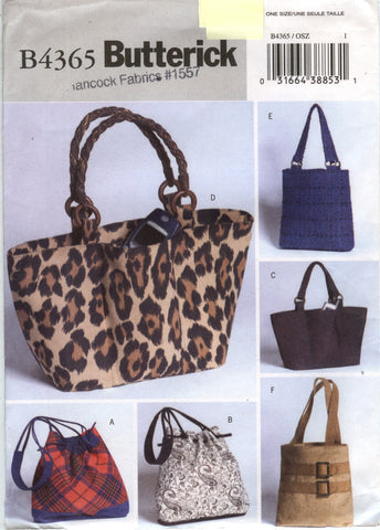 Butterick 4365 Handbags and Purses -  - Smiths Depot Sewing Pattern Superstore