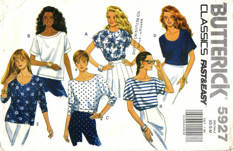 Butterick 5927 Misses' Tops - 6-8-10-12-14 - Smiths Depot Sewing Pattern Superstore