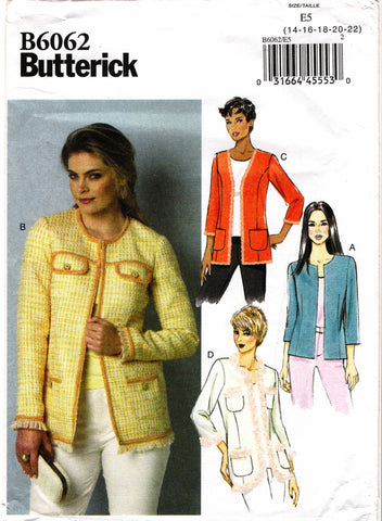 Butterick 6062 Misses' Jacket - 14-16-18-20-22 - Smiths Depot Sewing Pattern Superstore