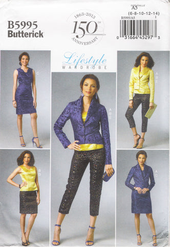 Butterick 5995 Misses' Jacket, Top, Dress, Skirt and Pants - A5 (6-8-10-12-14) - Smiths Depot Sewing Pattern Superstore