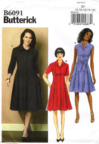 Butterick 6091 Misses'/Misses' Petite Dress and Belt - 8-10-12-14-16 - Smiths Depot Sewing Pattern Superstore