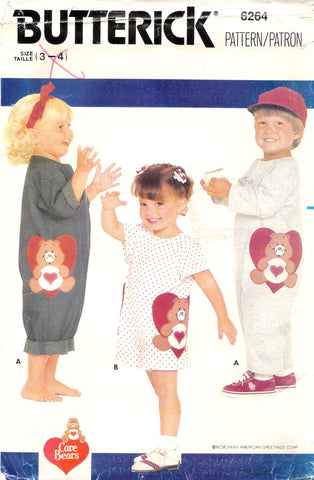 Butterick 6264 Care Bears Toddler's Overalls and Applique - (3-4) - Smiths Depot Sewing Pattern Superstore