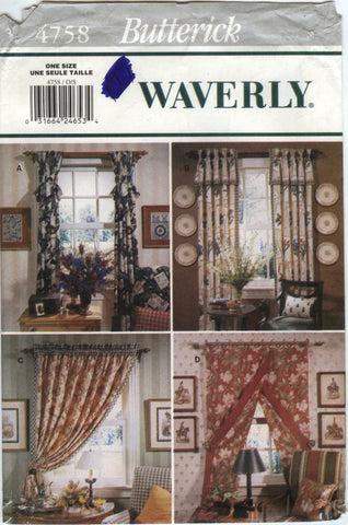 Butterick 4758 Drapes Window Treatment -  - Smiths Depot Sewing Pattern Superstore