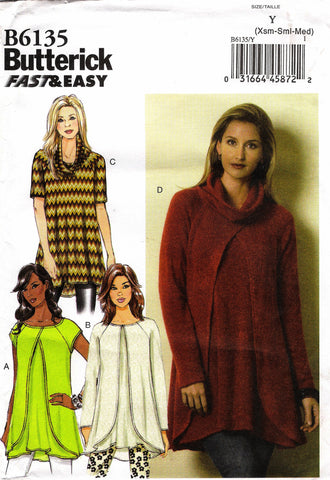 Butterick 6135 Misses' Tunic - 4-6-8-10-12-14 - Smiths Depot Sewing Pattern Superstore