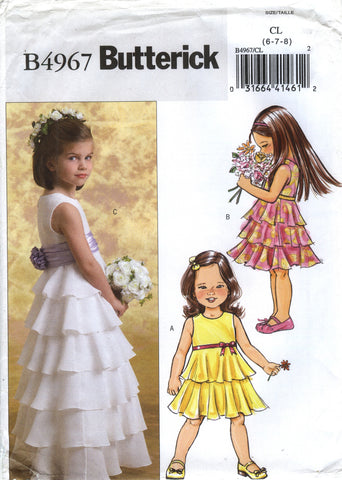 Butterick 4967 Children's/Girls' Dress and Cummerbund - 6-7-8 - Smiths Depot Sewing Pattern Superstore
