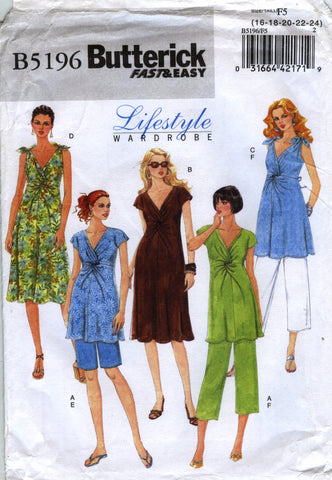 Butterick 5196 Misses' Maternity Top, Dress, Shorts and Pants