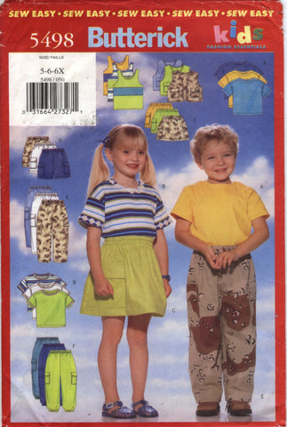 Butterick 5498 Children's Unisex Vest, Top, Tan Top, Skirt Shorts & Pants