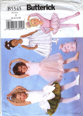 Butterick 5545 Children's/Girls' Leotard, Skirt, Bag and Ponytail Holder