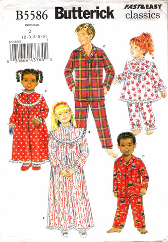 Butterick 5586 Children's Unisex Sleepwear Pajamas