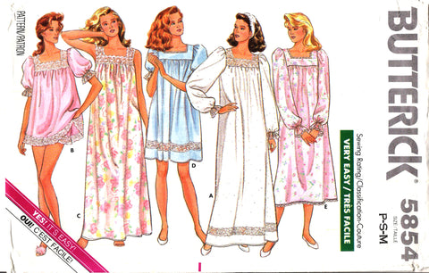 Butterick 5854 Misses' Nightgown & Shorts Sleepwear Pajamas